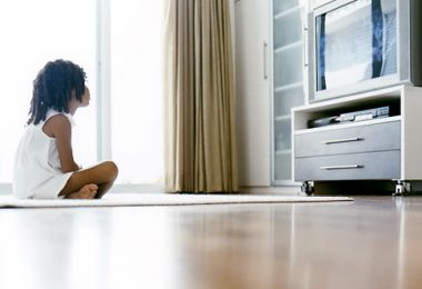 Young Girl Watching Television   Original Filename: a0130-000149b.jpgvia Flatbed 1 African-American African-Americans watching tv